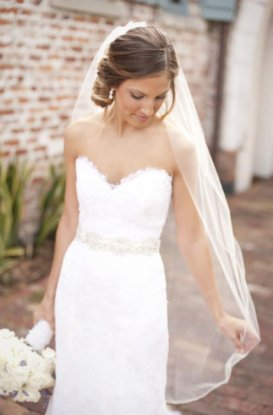 hip length wedding veil